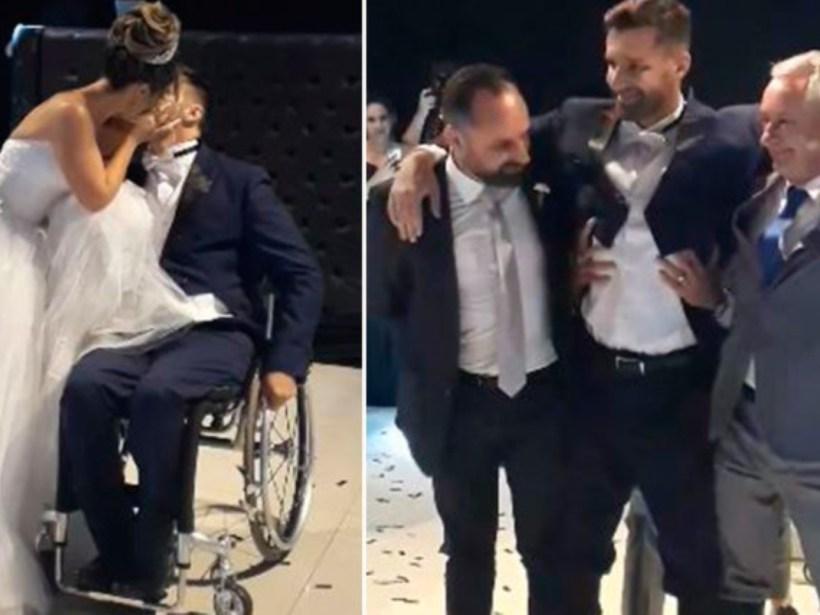novio en silla de ruedas casamiento +
